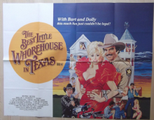 Best Little Whorehouse in Texas. UK Quad Poster, Burt Reynolds, Dolly Parton, 82